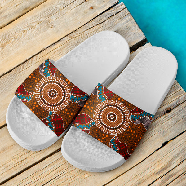 1stAustralia Aboriginal Slide Sandals,  Aboriginal Patterns Ver01 (White)
