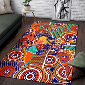 1stAustralia Aboriginal Area Rug - Australian Map Dot Painting