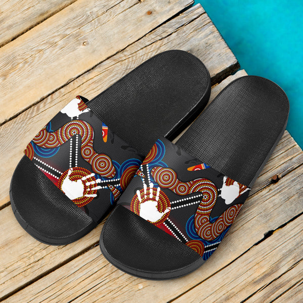 1stAustralia Aboriginal Slide Sandals, Australian Boomerang and Snake Indigenous Art