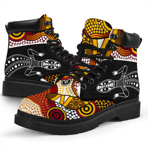 1stAustralia Boots (All-season) - Aboriginal Dot Painting Lizard Boots - Unisex