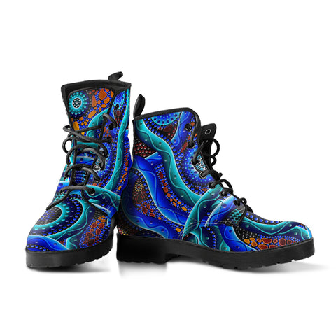 1stAustralia Leather Boots - Aboriginal Painting Boots Blue Dot Painting Art