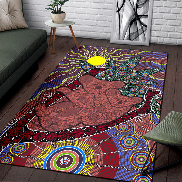 1stAustralia Aboriginal Area Rug, Koala Sun Dot painting Circle Patterns