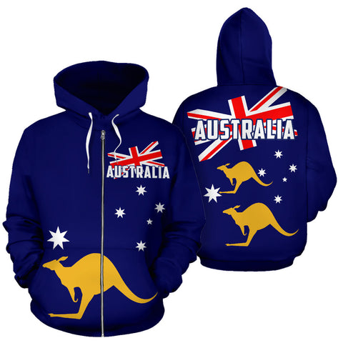Image of Australia Flag Zip-Up Hoodie Kangaroo