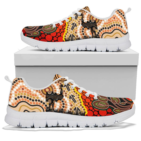 1stAustralia Sneakers - Australian Aboriginal Sun and Emu Black - BN19