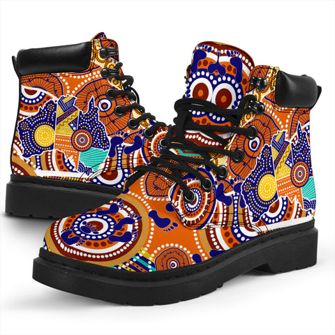1stAustralia Aboriginal All-season Boots - Australian Map Dot Painting