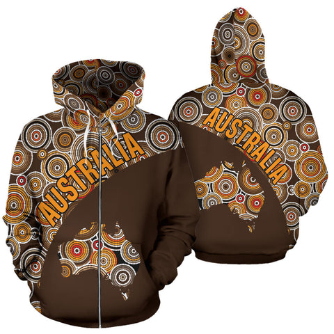 Australia Zip-Up Hoodie Australia Pattern Wave Map TH95
