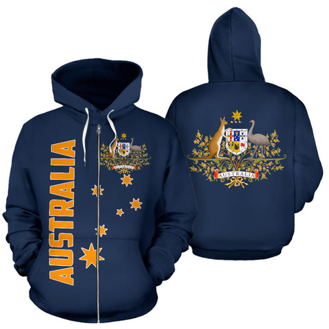 Australia Hoodie Coat Of Arms Zip-Up