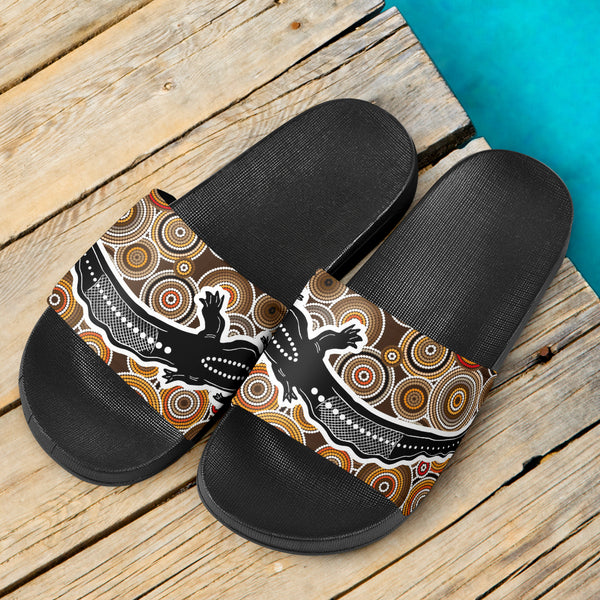 1stAustralia Aboriginal Slide Sandals,  Aboriginal Crocodile Circle Dot Painting