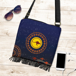 1stAustralia Boho Handbag - Kangaroo On The Sun - BN25