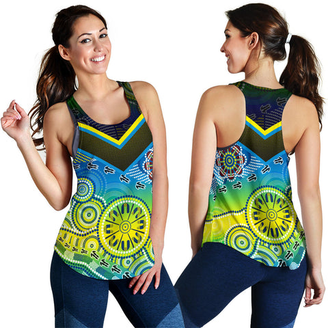1stAustralia Aboriginal Racerback Tank - Dot Painting Indigenous Circle Patterns - Women