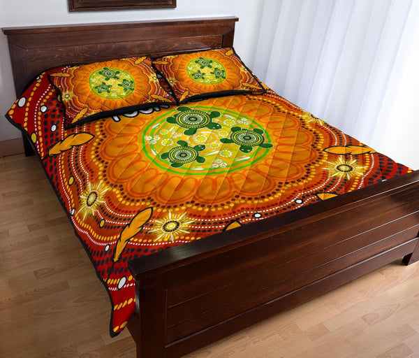 [Custom Text] 1stAustralia Aboriginal Quilt Bed Set - Turtle Circle Dot Painting Art