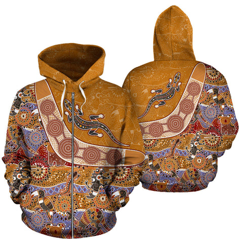 Image of Australia Pattern Style - All Over Zip-Up Hoodie - MRP