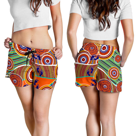 1stAustralia Aboriginal Women's Shorts - Australian Map Dot Painting