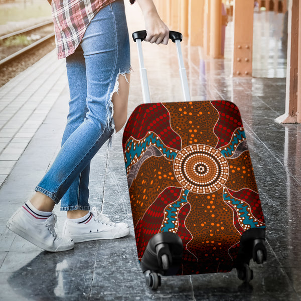 1stAustralia Luggage Cover - Aboriginal Dot Painting Suitcase Ver06 - Th1