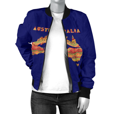 Australia Womens Bomber Jacket Aboriginal Map With Kangaroo TH1