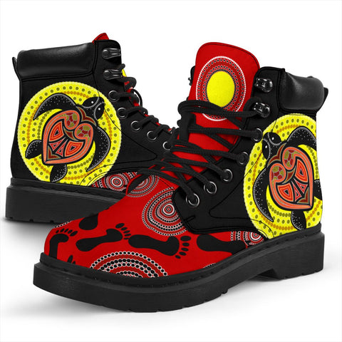 1stAustralia Boots - Aboriginal Dot Painting Boots Turtle - Unisex