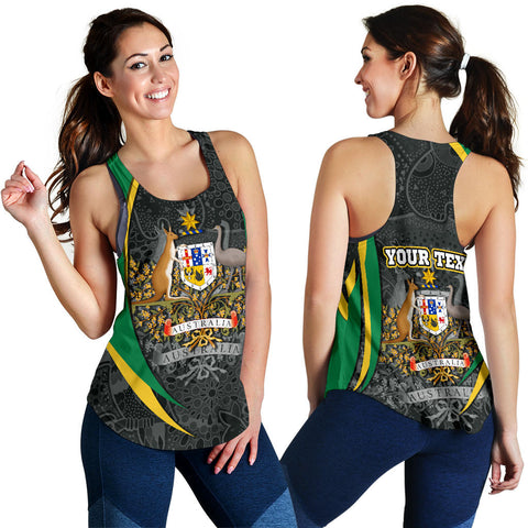 1stAustralia Personalised Racerback Tank - Australia Coat of Arms Tank Top Aussie Spirit (Green) - Women - BN15