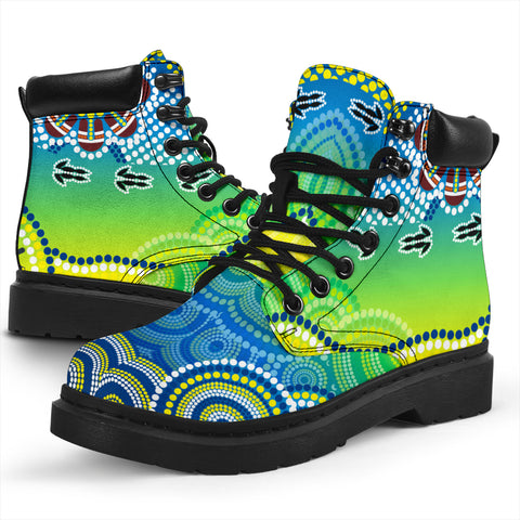 1stAustralia Aboriginal All-season-Boots - Dot Painting Indigenous Circle Patterns Ver 01