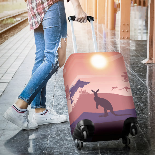 1stAustralia Luggage Cover - Kangaroo Suitcase Sunset Landscape Art Ver05 - Th1