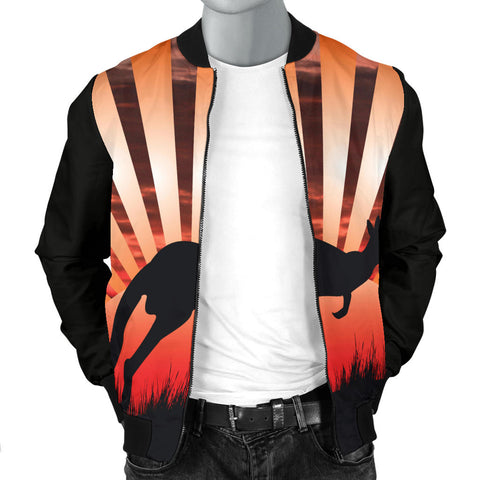 Australia Mens Bomber Jacket Kangaroo In The Sunset TH1