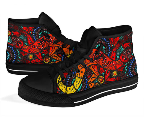 1stAustralia High Top Shoes - Aboriginal Lizard Shoes Red Dot Painting