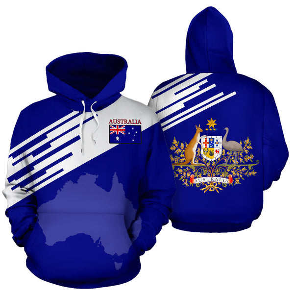 1stAustralia Hoodie - Australian Coat Of Arms Hoodie Flag & Map Line Version - Unisex - Th9