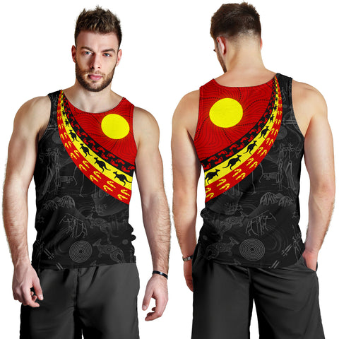 1stAustralia Aboriginal Men's Tank Top, Indigenous Flag Circle Dot Painting