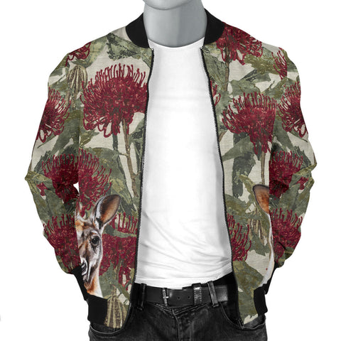 Kangaroo in Waratah Mens Bomber Jacket