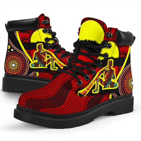 1stAustralia All-season Boots - Australia Aboriginal Dots With Didgeridoo - BN19