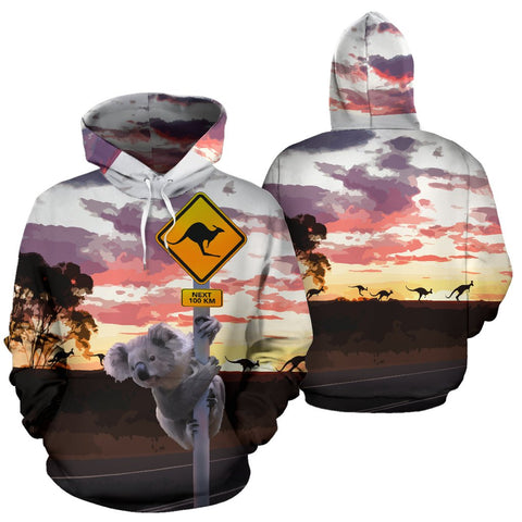 Unisex Hoodie Australia Koala And Kangaroo Sign - Front and Back
