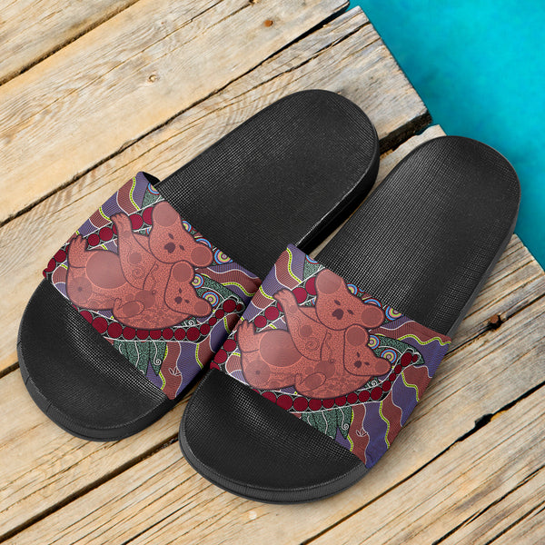 1stAustralia Aboriginal Slide Sandals, Koala Sun Dot painting Circle Patterns (Black)