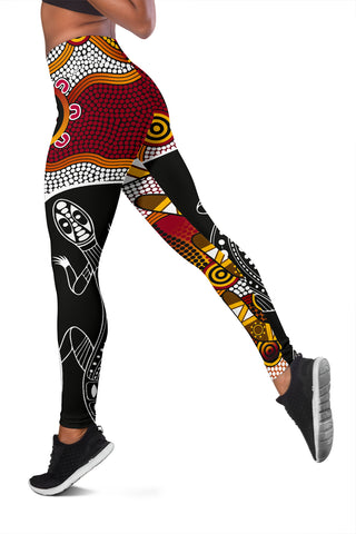 1stAustralia Leggings - Aboriginal Dot Painting Lizard Tight Pants - Women