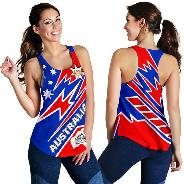 1stAustralia Racerback Tanks - Australia Flag Color And Coat Of Arm