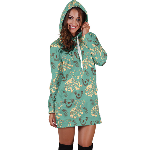 Australia Koala Pattern Hoodie Dress Font