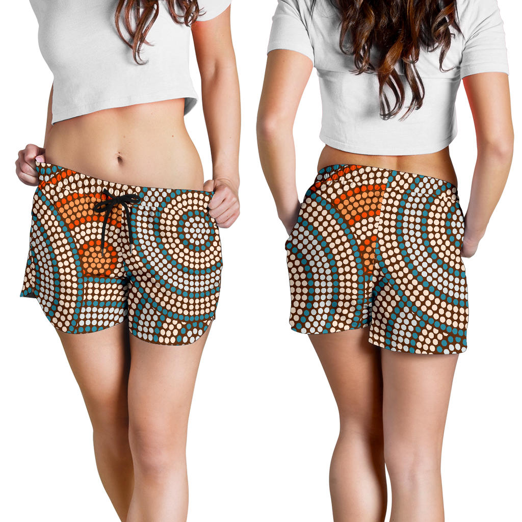 1stAustralia Aboriginal Shorts, Indigenous Dot Painting Short Women 07 - Th1