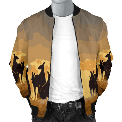 Australia Mens Bomber Jacket Kangaroo Family Sunset TH1