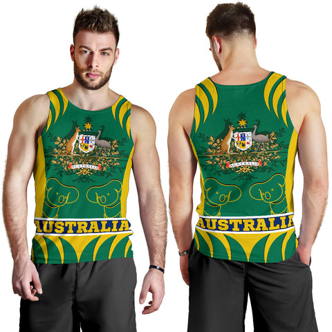1stAustralia Tank Top - Australian Coat Of Arms Tank Koala - Men