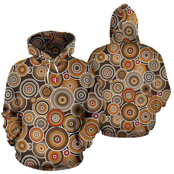 Aboriginal Pattern Brown All Over Hoodie | Men&Women | Clothing