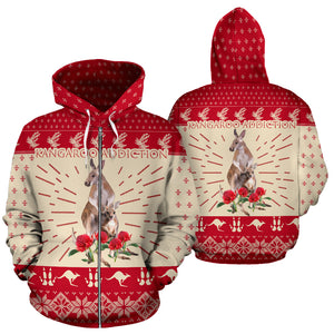 Australia Hoodie Kangaroo Addiction Zip Up Hoodie - Front and Back - Red mix Creme color - For Men and Women
