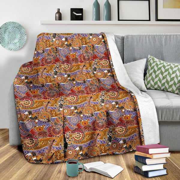 1stAustralia Premium Blanket - Aboriginal Patterns Blanket Australian Animals - Th9