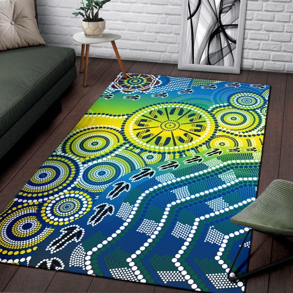 1stAustralia Aboriginal Area Rug - Dot Painting Indigenous Circle Patterns