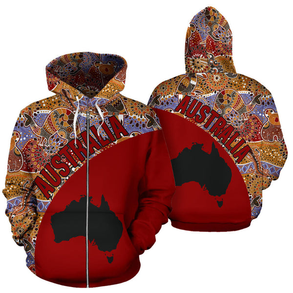 1stAustralia Aboriginal Zip Up Hoodie, Australia Map Kangaroo Patterns Koala - Th5
