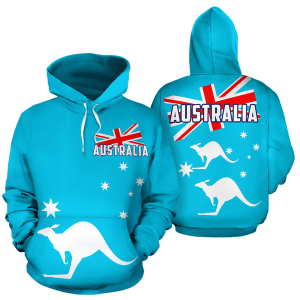 1stAustralia Hoodie - Kangaroo Hoodie Aus Flag Ver02 - All Over Print - Unisex - Th9