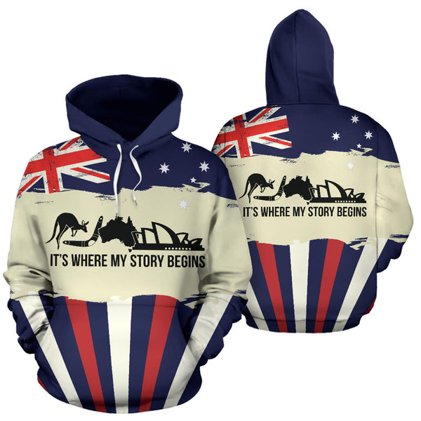 Australia Where My Story Begins with Navy color Hoodie - Front and Back - For Men and Women