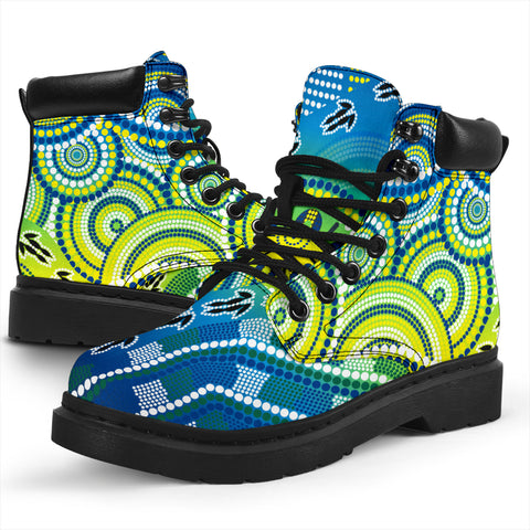 1stAustralia Aboriginal All-season-Boots - Dot Painting Indigenous Circle Patterns Ver 02