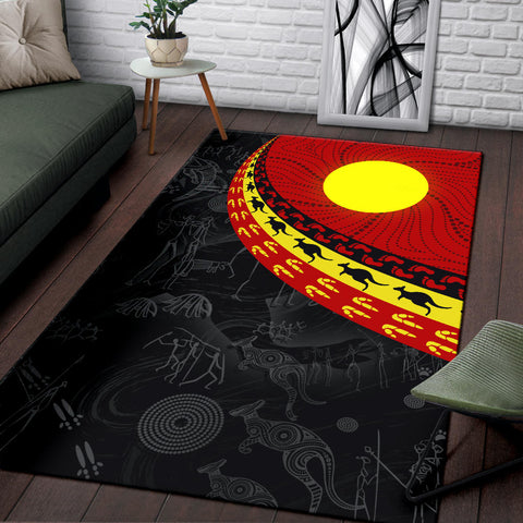 1stAustralia Aboriginal Area Rug, Indigenous Flag Circle Dot Painting