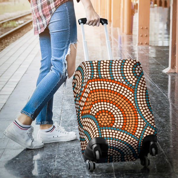 1stAustralia Luggage Cover - Aboriginal Dot Painting Suitcase Ver07 - Th1
