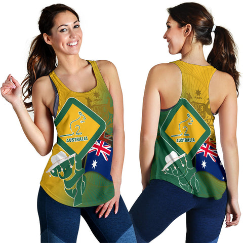 1stAustralia Racerback Tank - Aus Flag and Coat Of Arms Tank Kangaroo and Koala Sign
