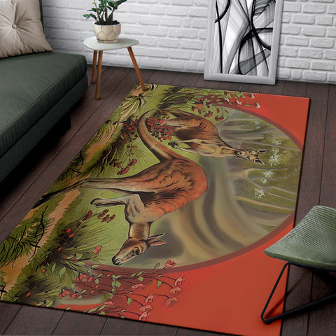 Australia Area Rug Two Kangaroo