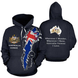 Australia In Me Hoodie with Navy color - Front and Back - For Men and Women